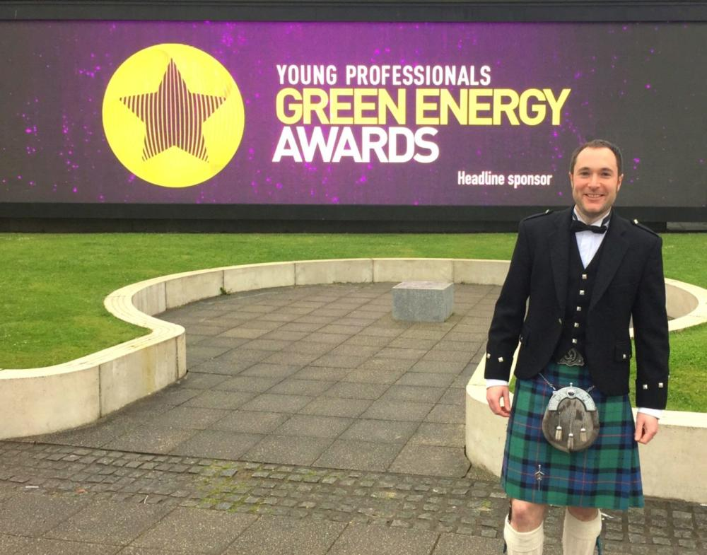 Grant Feasey pictured standing outside in a kilt at the Young Professionals Green Energy Awards