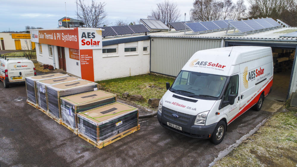 AES Solar's headquarters in Forres with a bumper Sunpower Solar panel delivery