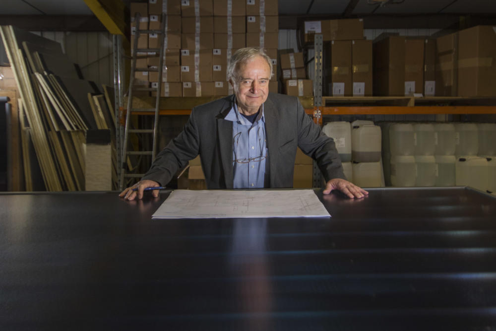 George Goudsmit pictured within the AES Solar workshop in Forres