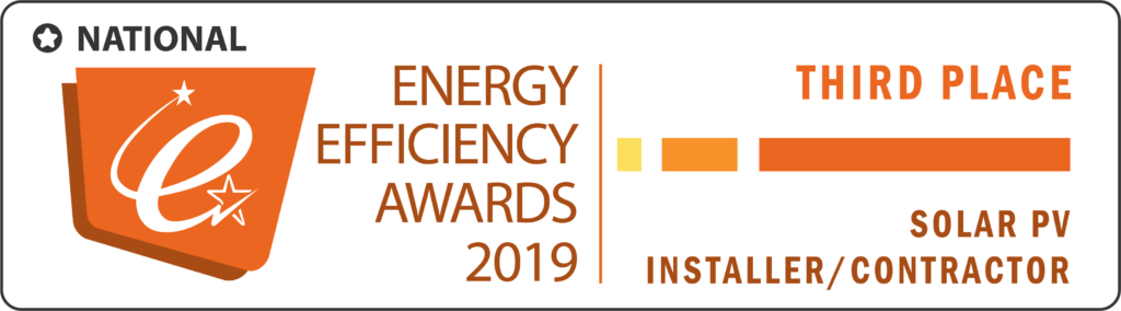 A designated digital badge describing the National Energy Efficiency Awards and the Third Place Win