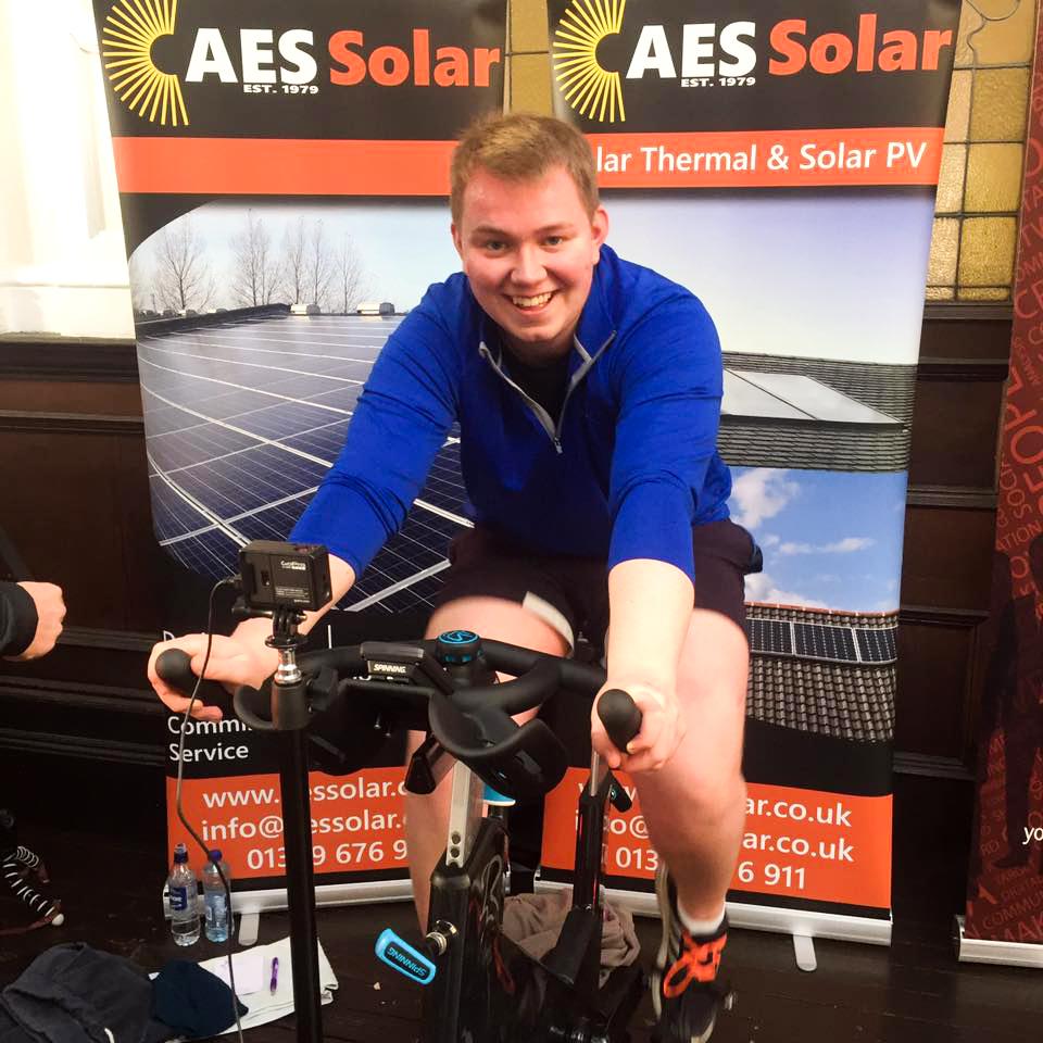 AES Solar Graduate Apprenticeship Cameron Duncan on a static bike
