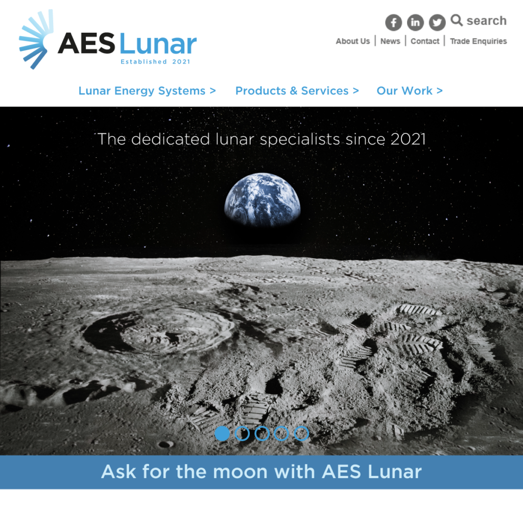AES Lunar landing page with moon