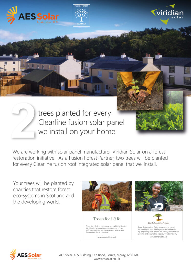 Tree planting initiative poster for AES Solar and Viridian Solar