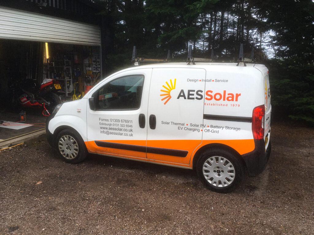 Small AES Solar rebranded vans