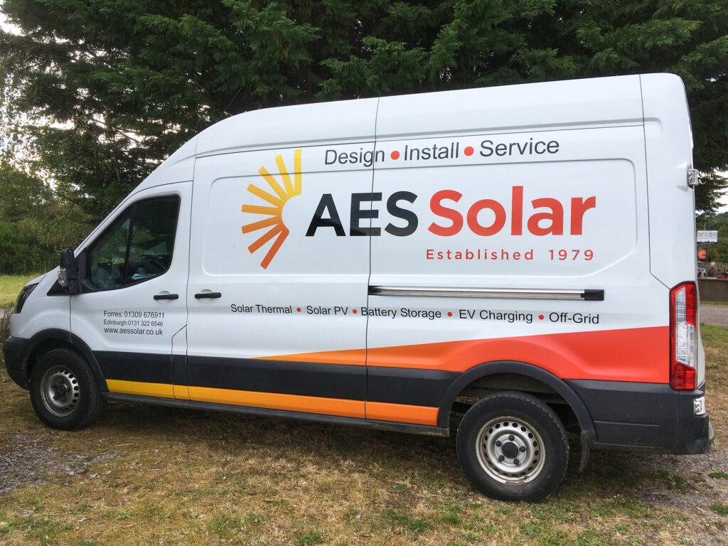 AES Solar new rebranded vans